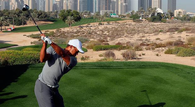 Tiger Woods tees off at the eighth hole during the Pro Am event ahead of the Omega Dubai Desert Classic, which starts today. Photo: Getty Images