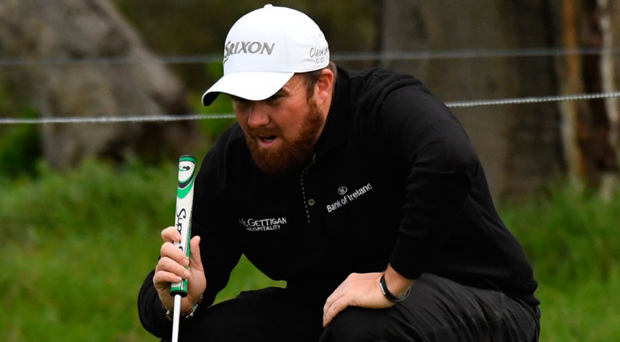 Shane Lowry lines up a putt on the second hole at the AT&T Pebble Beach Pro-Am