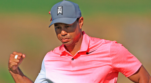 Tiger Woods reacts to birdie putt on the 11th hole during the second round of The Honda Classic Photo: Getty