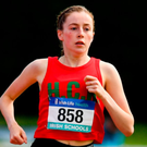 Holy Child Killiney's Sarah Healy on her way to winning the senior girls 1500m at the Irish Life Health All-Ireland Schools Championships in Tullamore. Photo: Sportsfile