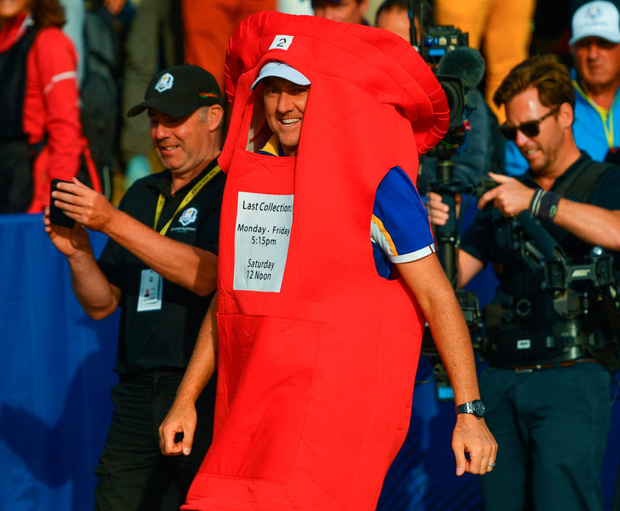 Poulter with a post-box costume after delivering again for his team. Photo: Sportsfile