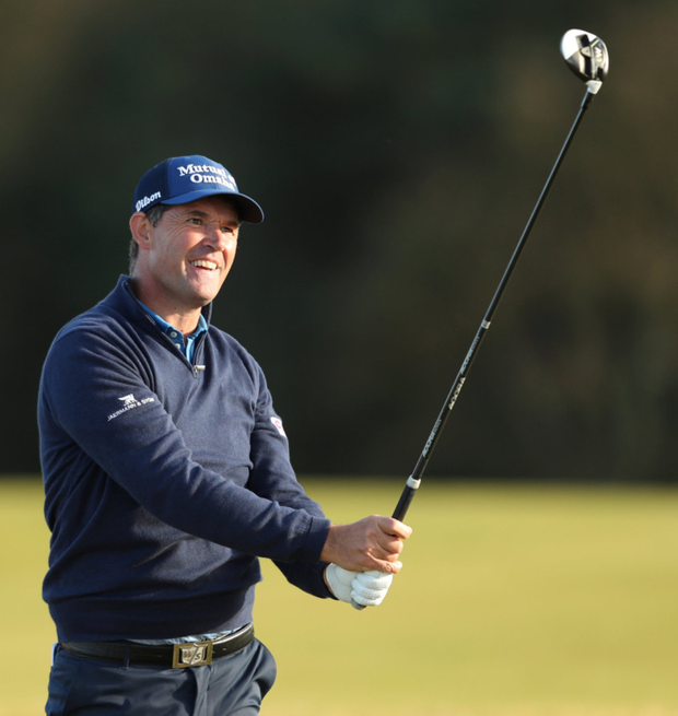 Pádraig Harrington follows the flight of his ball at Kingsbarns during the first round of the Alfred Dunhill Links Championship. Photo: Reuters