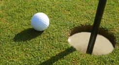 A spectacular hole-in-one helped Eddie Pepperell claim a share of the lead with Ryder Cup star Tommy Fleetwood and Matt Wallace after the opening round of the British Masters. Stock image