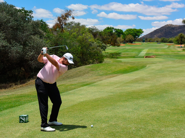Shane Lowry hits a tee shot during the first round of the Nedbank Golf Challenge. Photo: Getty