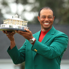 Tiger Woods is pictured after winning the 2019 US Masters in Augusta National last April. Photo: Getty
