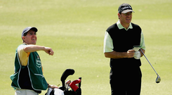 Paul Kimmage caddying for Nick Faldo at the Heineken Classic in 2005. 'I probably learned more that week about sport than in 30 years of journalism'. Photo: Getty