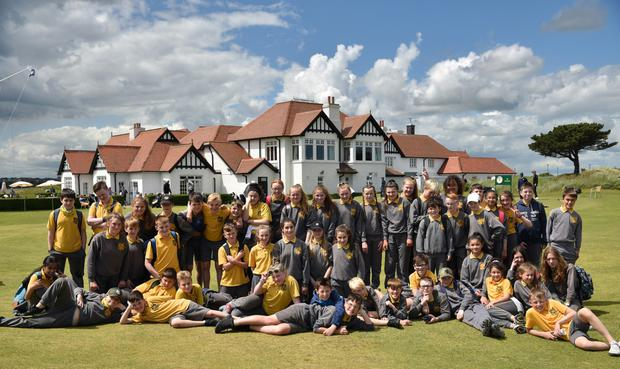 Pupils from St Marnock's enjoying a day out at The Amateur Championship. Photo: Pat Cashman