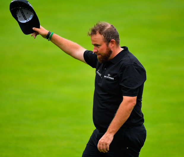 Shane's World: Shane Lowry acknowledges the crowd at Portrush after his excellent second round gave him a share of the lead at The Open. Photo: Brendan Moran/Sportsfile