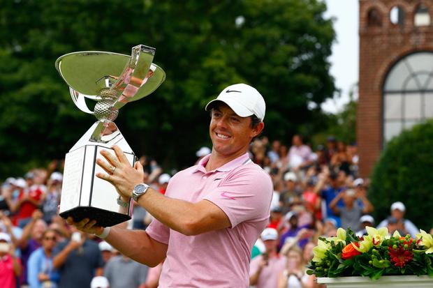 Rory McIlroy celebrates with the FedEx Cup after his victory in Atlanta. Photo: USA Today Sports