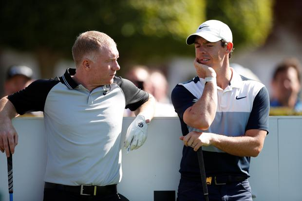 United great Paul Scholes with Reds fan Rory McIlroy at yesterday's pro-am ahead of the BMW PGA Championship. Photo: Action Images via Reuters