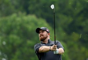 Shane Lowry watches his approach to the 10th during the third round of the Turkish Airlines Open