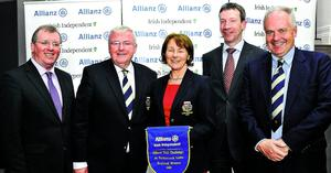 Top team in the Allianz-Irish Independent event at Portmarnock Links were Milltown GC. From left: Liam Kelly, (Golf Editor, Irish Independent); Jim Byrne (Captain, Milltown), Clare Kavanagh (Lady Captain, Milltown), Anthony Shannon (Director of Claims, Allianz) and Brian Murphy (Vice-President, Milltown)