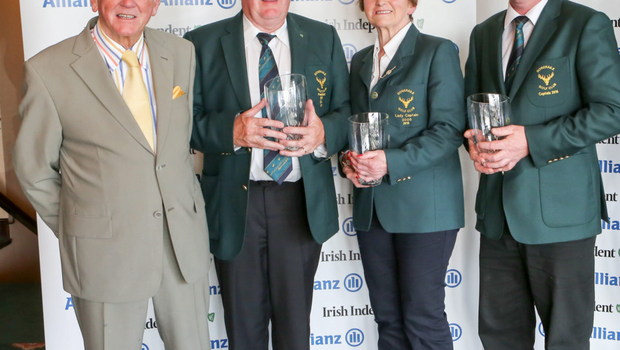 RUNNERS-UP: Event director Cecil Whelan with Doneraile president Sean Collins, lady captain Kay O'Keeffe and captain Eddie Roche