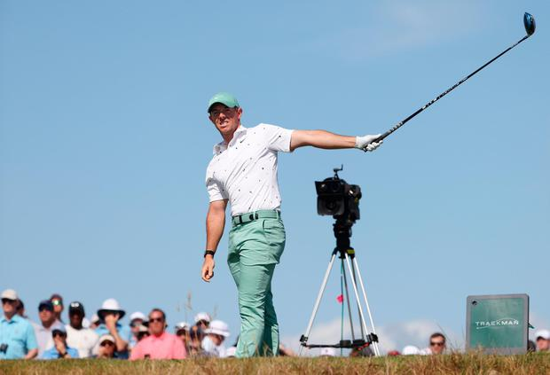 Rory McIlroy reacts to his shot from the 15th tee during the first round of the 2021 PGA Championship at Kiawah Island. (Photo by Jamie Squire/Getty Images)