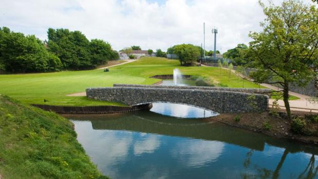 The 12th hole of the Clontarf golf course now boasts a stone bridge as one of its features