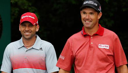 Friends again: Sergio Garcia, left, and Pádraig Harrington whose rivalry dated from the Dubliner's Open victory in 2007. Photo: Getty Images