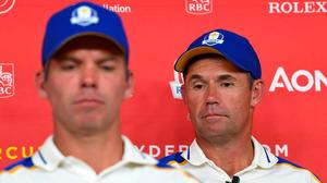 Pondering what might have been: Europe Ryder Cup captain Pádraig Harrington, right, and Paul Casey after USA's victory at Whistling Straits. Photo: PA Wire