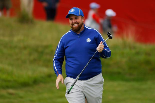 Team Europe's Shane Lowry reacts on the 15th green during a Ryder Cup practice round at Whistling Straits, Wisconsin