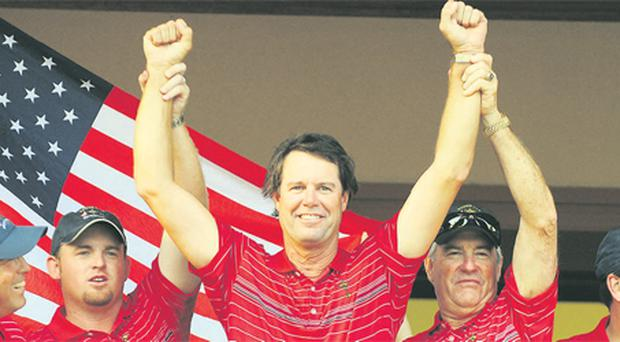 US captain Paul Azinger celebrates following his side's Ryder Cup victory over Europe at Valhalla in 2008