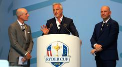 David Ginola was master of ceremonies in Paris yesterday alongside Jim Furyk (left) and Thomas Bjorn. Photo: Getty