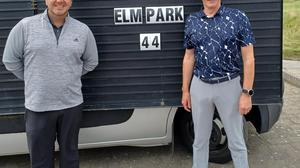 Elm Park's PGA professional Peter Morgan (left) and Josh Keazeny following their win in the Irish qualifying event for the PGA National Pro-Am Championship at Seapoint