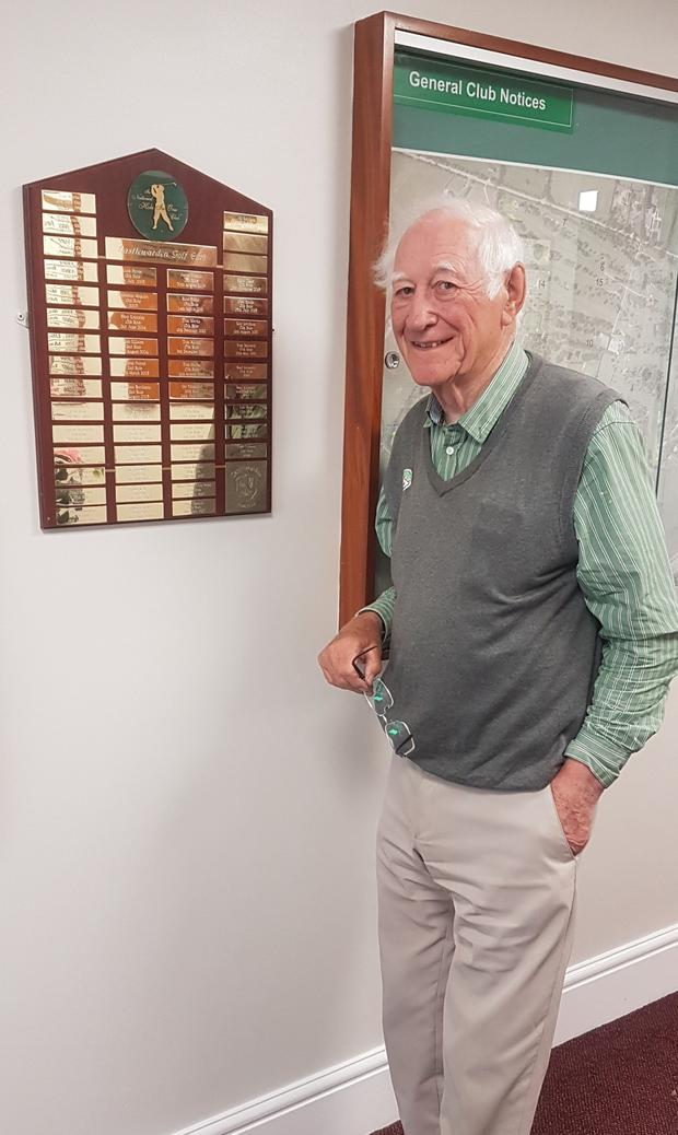 Hall of fame: Tom with plaque marking all the holes-in-one