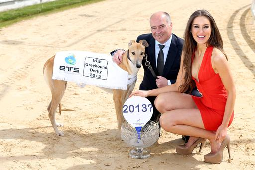 SPONSORSHIP DEAL: 'Jackpot' the greyhound with model Roz Purcell and Russell Warner, CEO of ETS at Shelbourne Park two years ago
