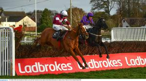 Samcro, pictured with Jack Kennedy up alongside Paul Townend on Easy Game at Down Royal last October, headlines a classy field in this evening's An Riocht Chase at Killarney. Photo: David Fitzgerald/Sportsfile
