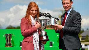 Champion National Hunt Jockey Paul Townend and Champion Female Amateur Jockey Jody Townend celebrate with their trophies before racing on day five of the Punchestown Festival at Punchestown Racecourse in Kildare. Photo: Seb Daly/Sportsfile