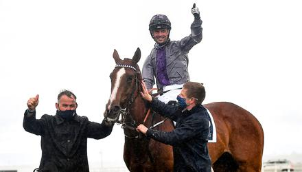 Jockey Rory Cleary celebrates on Mac Swiney after winning the Tattersalls Irish 2,000 Guineas at the Curragh. Mac Swiney is fancied to win another Classic today under Kevin Manning. Photo: Sportsfile