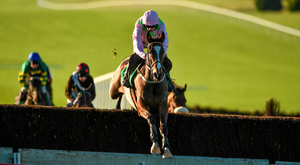 Vautour, here racing clear on his rivals at Navan on his chasing debut, is set to run at Leopardstown on Sunday