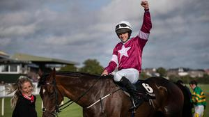 Assemble and Shane Fitzgerald with groom Ashley Hussey after winning the Kerry National at the Listowel Harvest Festival. Photo: Patrick McCann/Racing Post