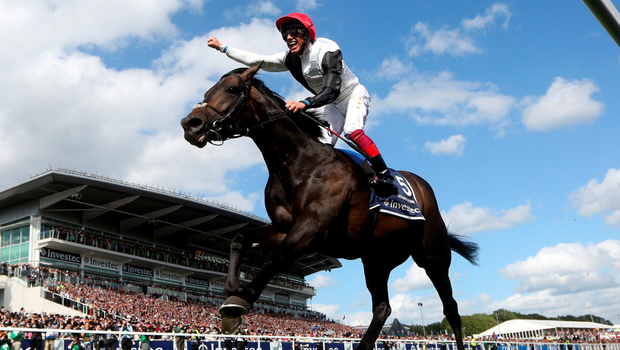 Frankie Dettori celebrates as he steers Golden Horn to victory in yesterday's Derby at Epsom