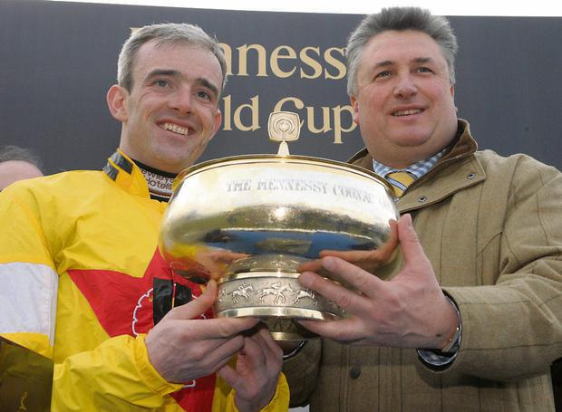 Ruby Walsh and Paul Nicholls after winning the Irish Hennessy Gold Cup with Neptune Collonges at Leopardstown in 2009