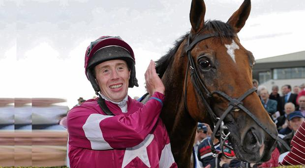 Winning jockey Stephen Clements and his mount Edeymi after taking the opening day feature at Galway