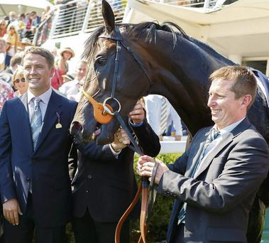 Owner Michael Owen with the Tom Dascombe-trained Brown Panther after winning the Artemis Goodwood Cup in 2013