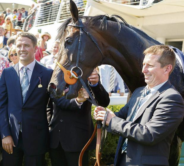 A delighted owner Michael Owen with theTom Dascombe-trained Brown Panther after winning the Artemis Goodwood Cup yesterday