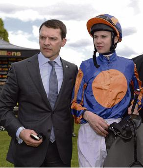 Aidan O'Brien with his son Joseph, who were victorious with Mekong River at Listowel