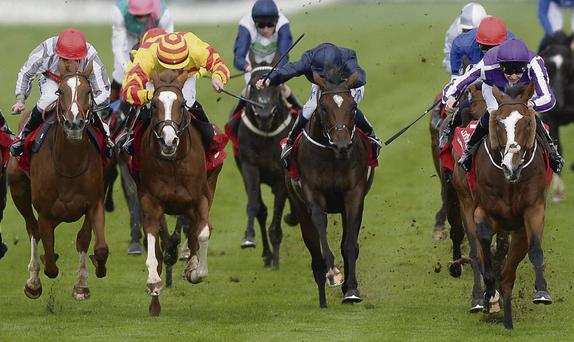 Leading Light and Joseph O'Brien (right) win the St Leger last month