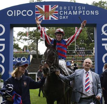 Johnny Murtagh celebrates Saturday's Ascot success aboard Royal Diamond