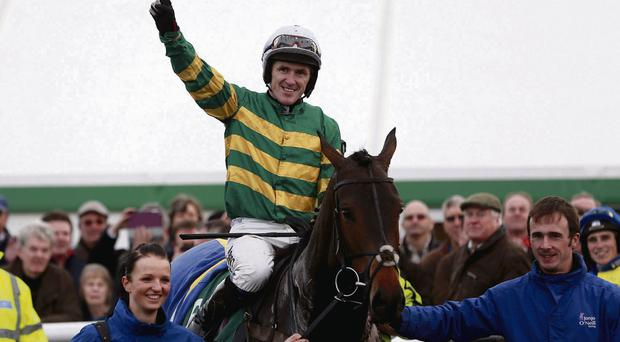 Tony McCoy celebrates his victory on Mountain Tunes at Towcester on Thursday – his 4000th career winner