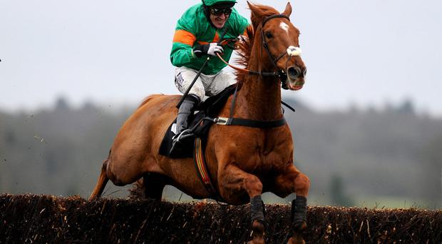 Chestnut Ben ridden by Tony McCoy on their way to victory at Newbury