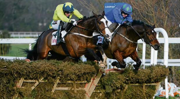 Hurricane Fly (right) fends off the challenge of Our Conor in the Irish Champion Hurdle SPORTSFILE