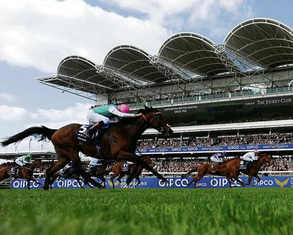 Night Of Thunder and Kieren Fallon (far right) edge out Kingman (near side) and Australia in the 2,000 Guineas