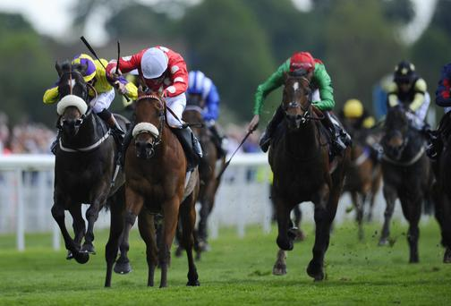 Declan McDonogh riding Maarek (white cap) win The Duke Of York Clipper Logistics Stakes at York racecourse in May