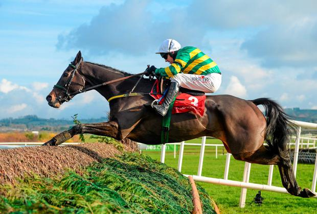Chancol, with Paul Carberry up, jumps the last on his way to winning at Punchestown yesterday