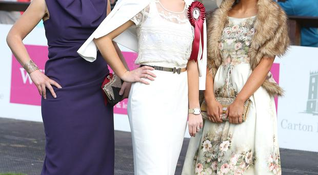Ciara Murphy from Dunboyne who was the winner of the Carton House Most Stylish Lady, with runners up Elaine Owens (left) from Kells and Kirsty Farrell (right) from Newry