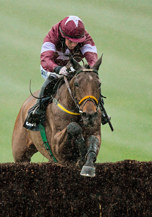 Road To Riches, with Bryan Cooper up, jumps the last on the way to winning the Clonmel Oil Steeplechase