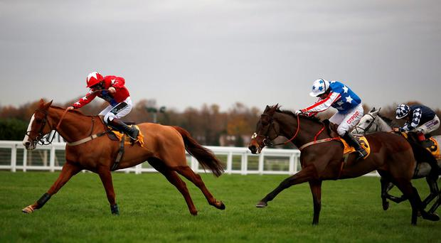 Jamie Moore riding Sire De Grugy (L) clear the last to win The Betfair Tingle Creek Steeple Chase from Special Tiara (C) at Sandown racecourse on December 05, 2015 in Esher, England.