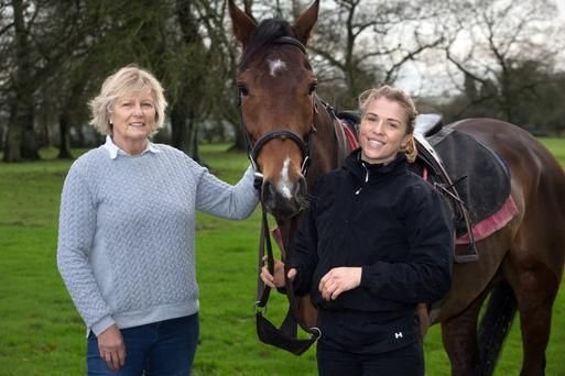 Fine fillies: Top horse trainer Jessica Harrington with her daughter Kate, an amateur jockey who is making a name for herself with 29 wins. Photo: Tony Gavin